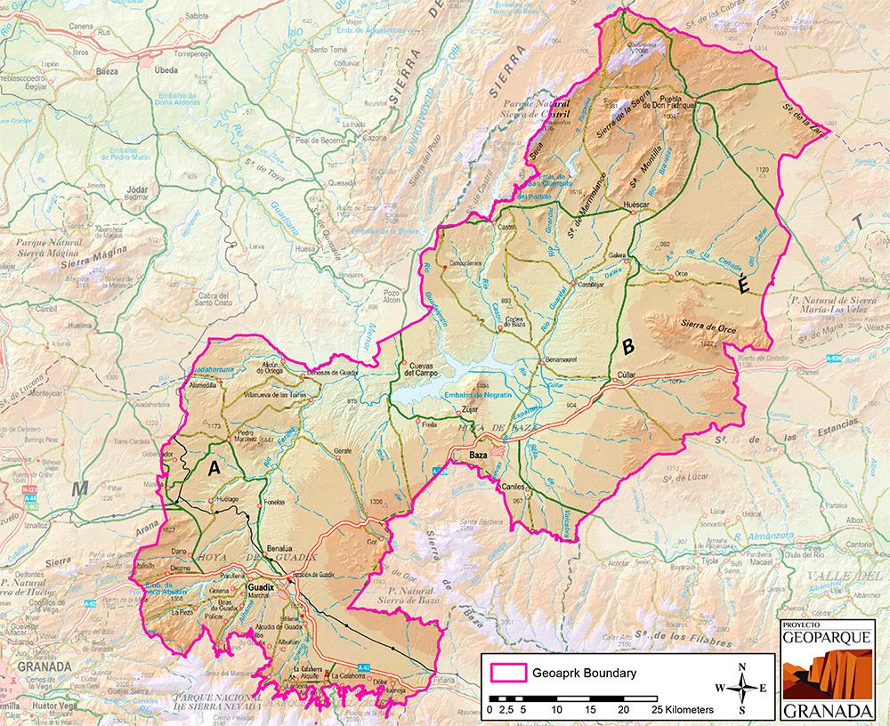 Mapa de límites geográficos del Geoparque de Granada