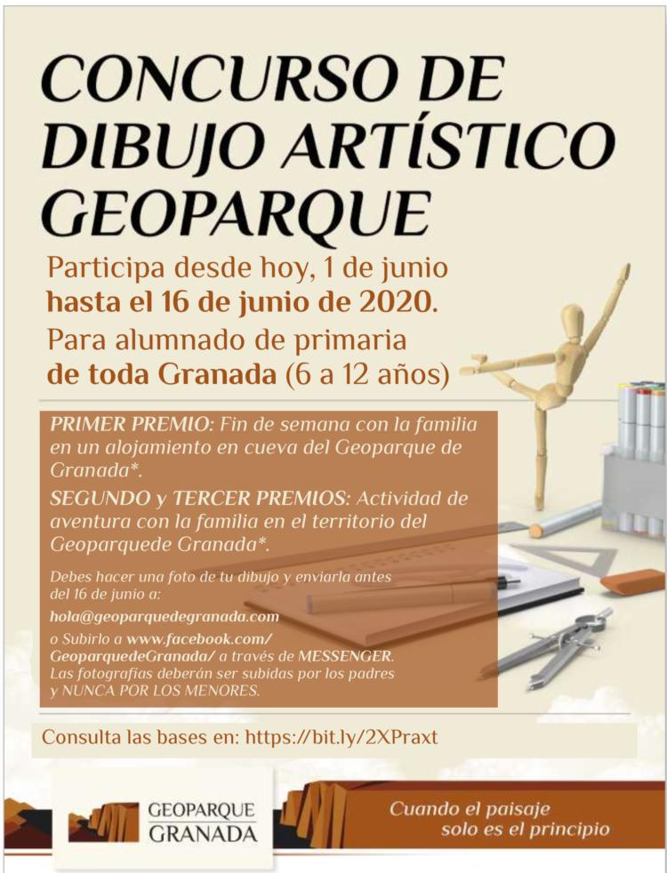 CARTEL CONCURSO DE DIBUJO 750x982 - Concurso de dibujo artístico infantil sobre el Geoparque de Granada - Geoparque de Granada