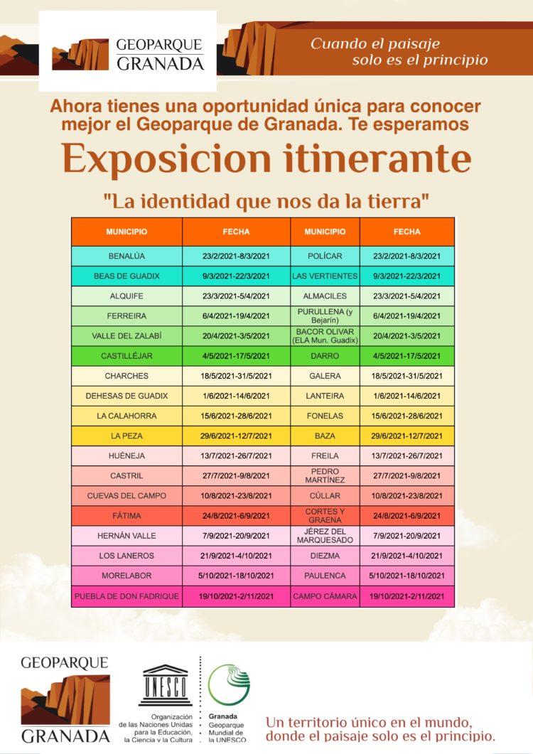CALENDARIO EXPO ITINERANTE FEB A NOVIEMBRE 1 750x1061 - Exposición sobre el Geoparque, en POLÍCAR del 23 de febrero al 8 de marzo. - Geoparque de Granada