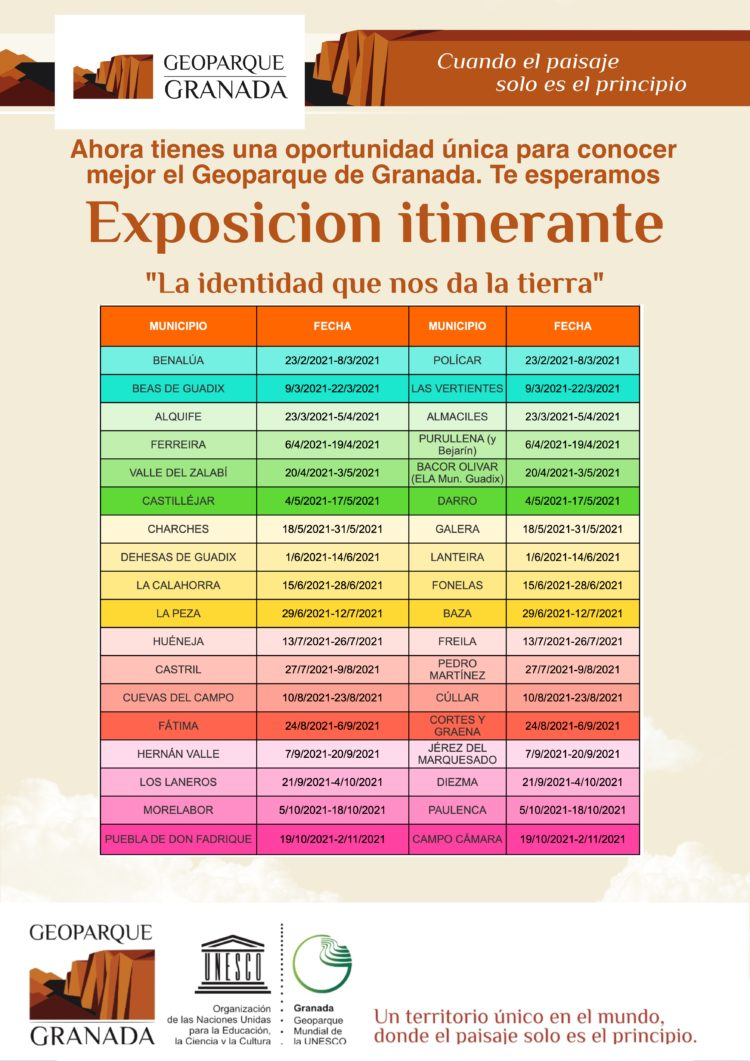 CALENDARIO EXPO ITINERANTE FEB A NOVIEMBRE 750x1061 - Calendario completo de la EXPOSICIÓN ITINERANTE SOBRE EL GEOPARQUE DE GRANADA - Geoparque de Granada