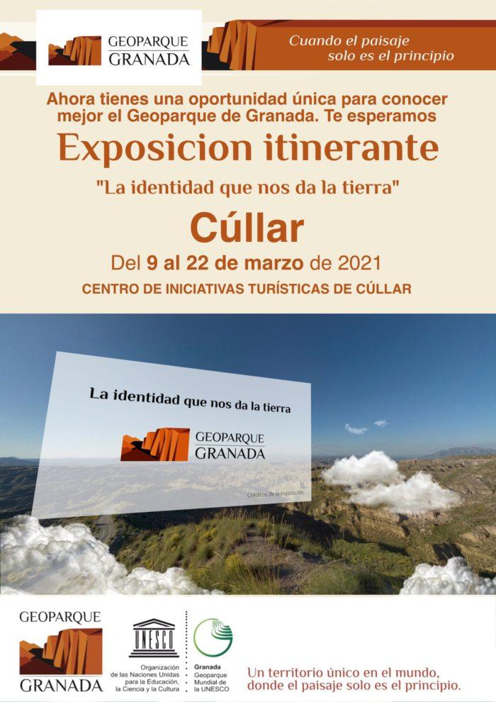 A3 CARTEL INFORMATIVO EXPOSICIÓN ITINERANTE CULLAR scaled e1615485270416 - Exposición sobre el Geoparque, en CÚLLAR del 9 AL 22 de marzo de 2021. - Geoparque de Granada