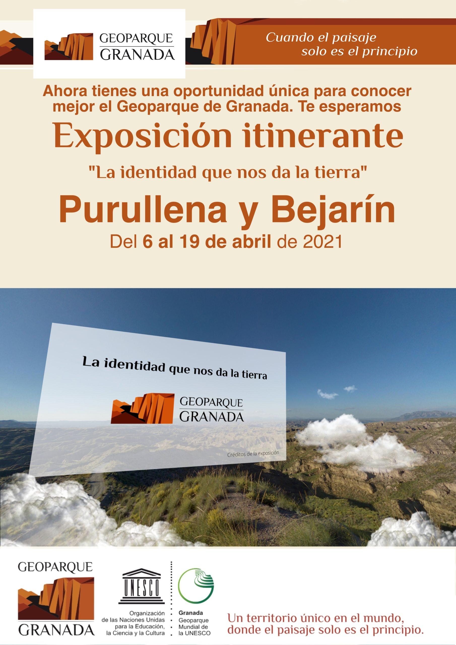 A3 CARTEL INFORMATIVO EXPOSICIÓN ITINERANTE purullena y bejarin scaled - Exposición sobre el Geoparque, en PURULLENA del 6 AL 19 de abril de 2021. - Geoparque de Granada