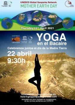 CARTEL YOGA 250x349 - Día de la Madre Tierra. Lo celebramos con yoga en Mesa de Bacaire - Geoparque de Granada