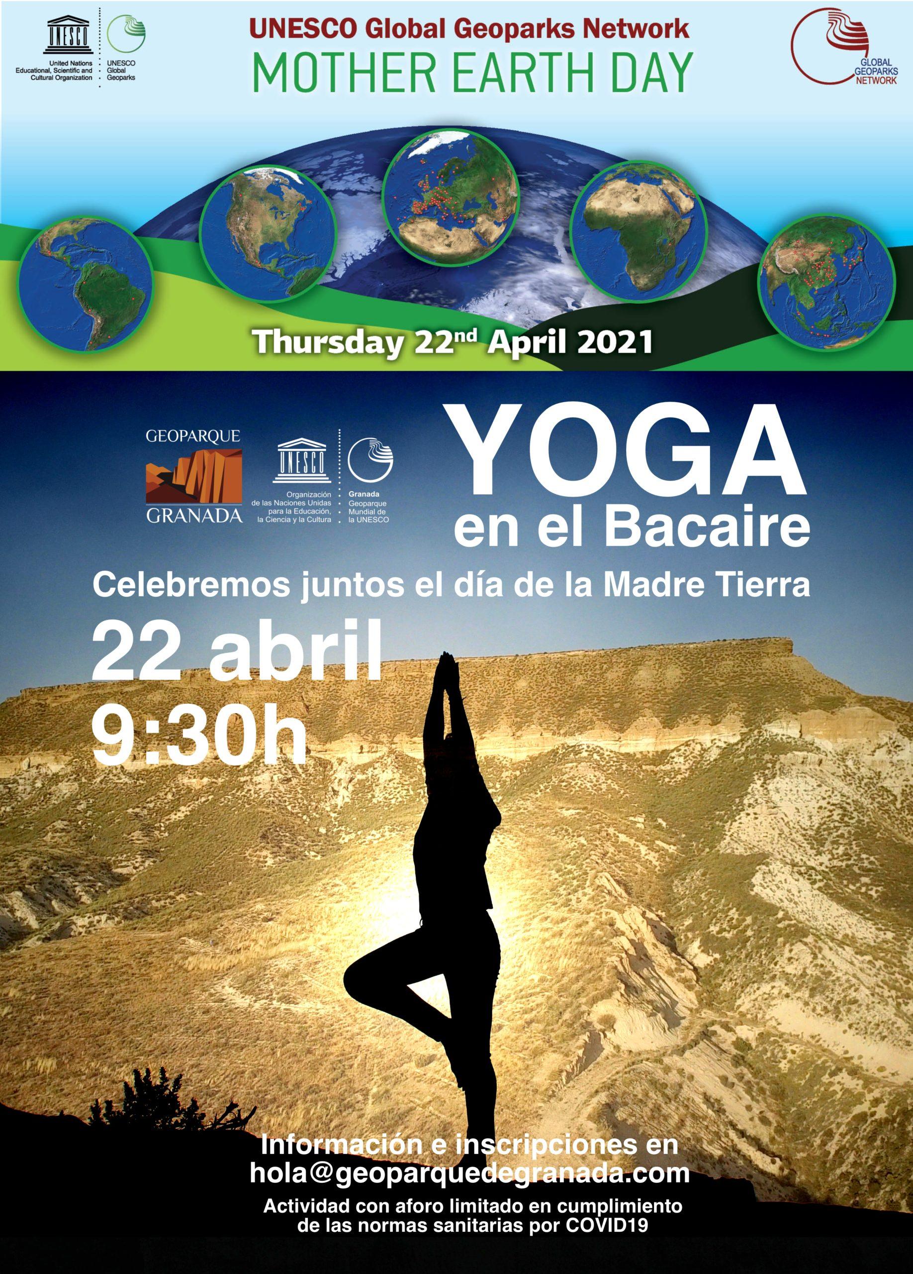 CARTEL YOGA scaled - Día de la Madre Tierra. Lo celebramos con yoga en Mesa de Bacaire - Geoparque de Granada