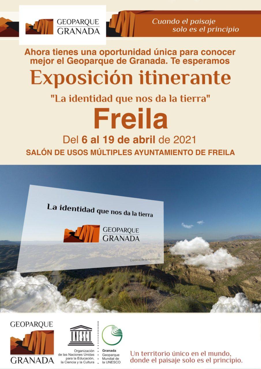 EXPOSICIÓN ITINERANTE FREILA scaled e1617773713893 - Exposición sobre el Geoparque, en FREILA del 6 AL 19 de abril de 2021. - Geoparque de Granada